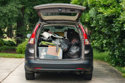 SUV packed with dorm items